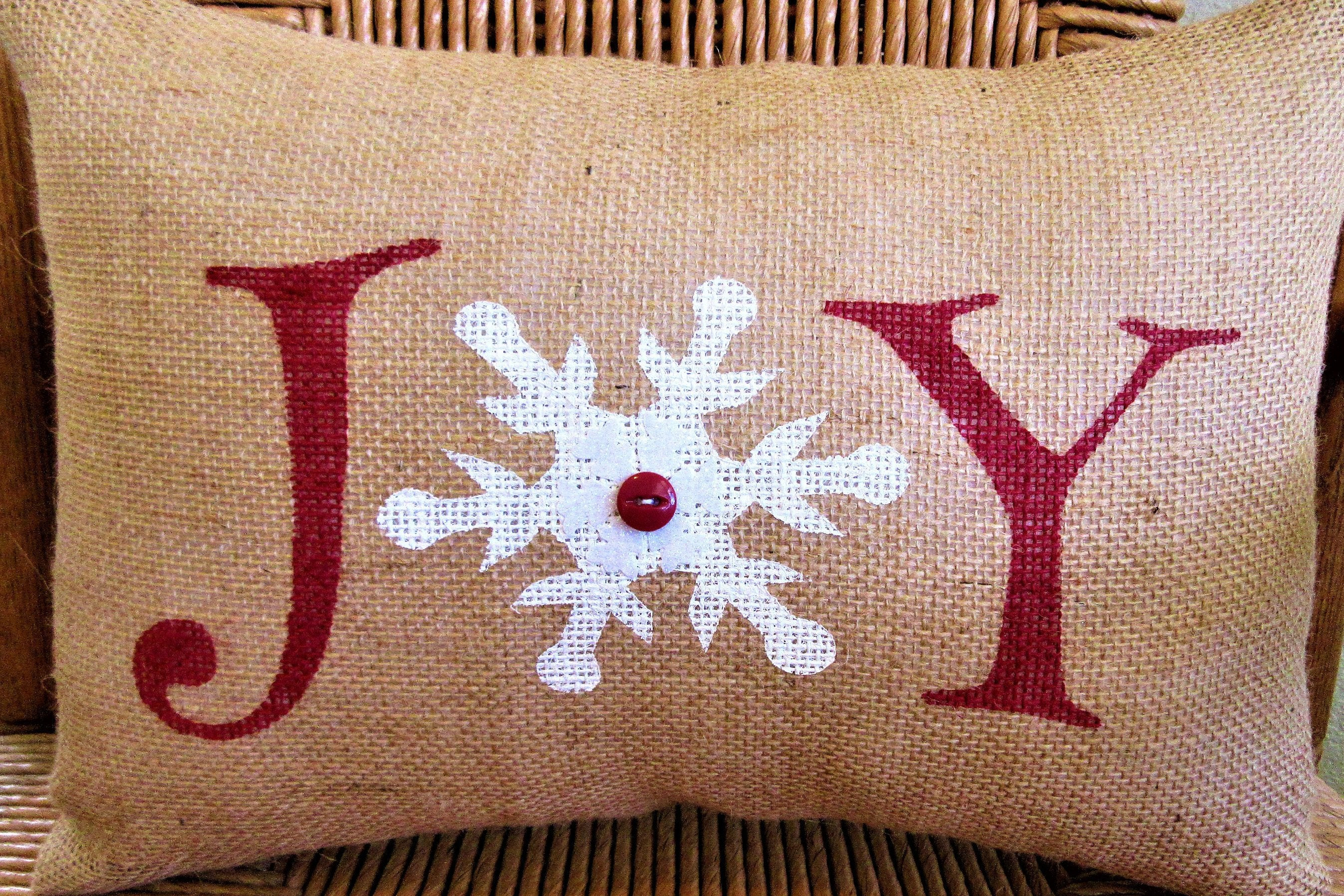 Snowflake, Joy Lumbar Burlap Pillow
