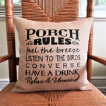 Porch Rules Burlap Pillow