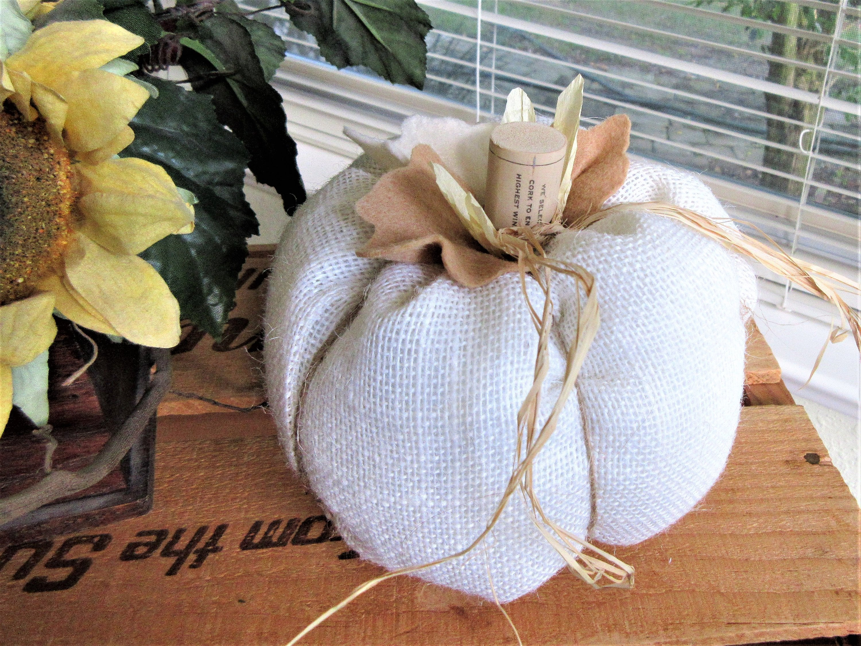 White  pumpkin fall decor burlap fabric pumpkins burlap pillow Thanksgiving decor Free shipping