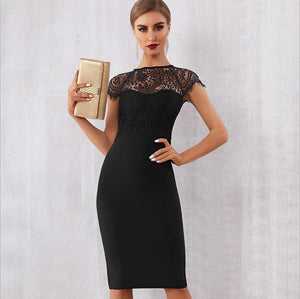 Bandage-design Lace Evening Dress dress BQ Emporium Black L