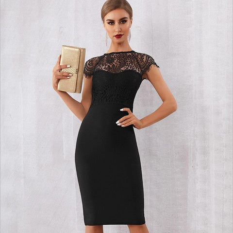 Image of Bandage-design Lace Evening Dress dress BQ Emporium Black L