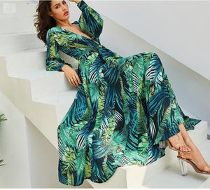Women's Tropical Beach Maxi Dress-Women's Clothing-BQ Emporium