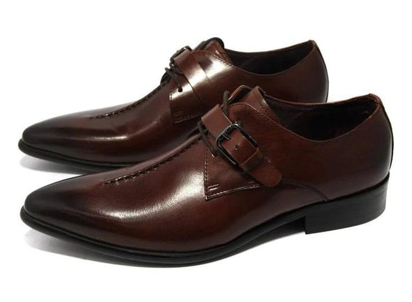 Business Genuine Leather Pointed-Toe Dress Shoes Men's Shoes BQ Emporium Deep coffee 5