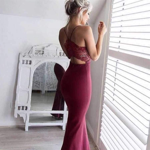 Carol – Glamorous Party Dress Maxi Dress BQ Emporium Wine Red L