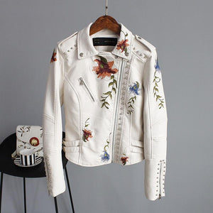 Cyndi - Embroidery Floral Faux Leather Jacket