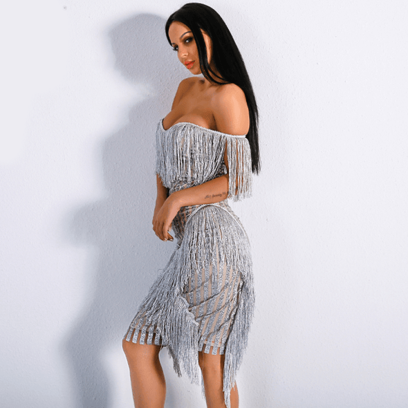 Deanna - Striped-Glitter Tassel Party Dress 👑💕 dress BQ Emporium