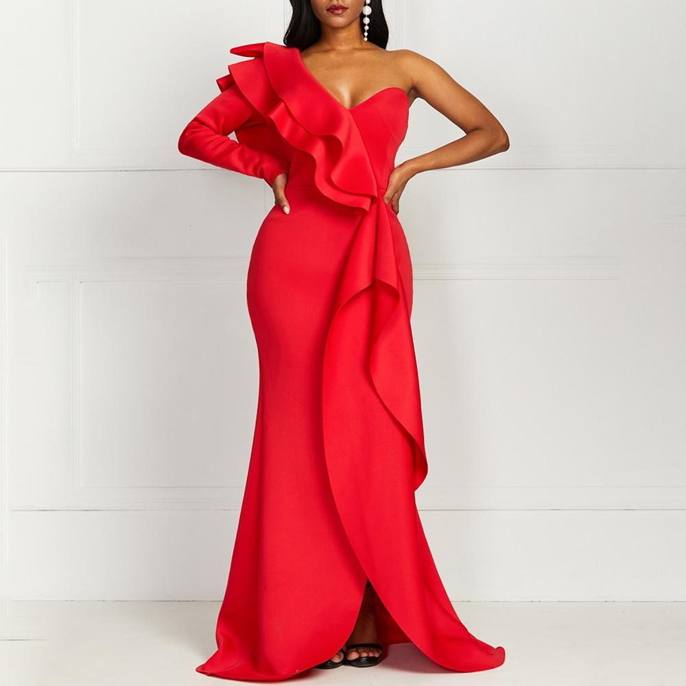 Debbie - One Shoulder Maxi Red Dress dress BQ Emporium