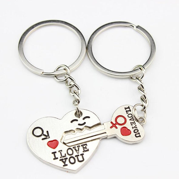 I LOVE YOU 2 Pcs Couple Heart Key Chain BQ Emporium