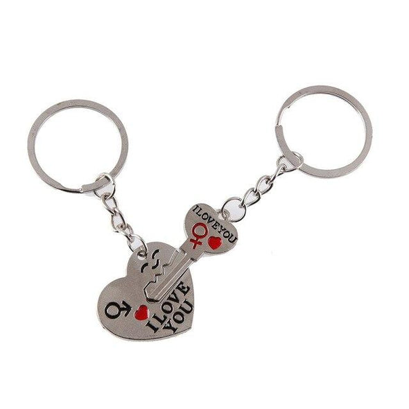 I LOVE YOU 2 Pcs Couple Heart Key Chain BQ Emporium Default Title