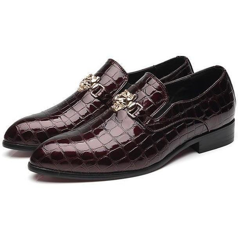 Image of Luxury Crocodile Grain Slip-On Oxford Shoes shoes BQ Emporium red 38