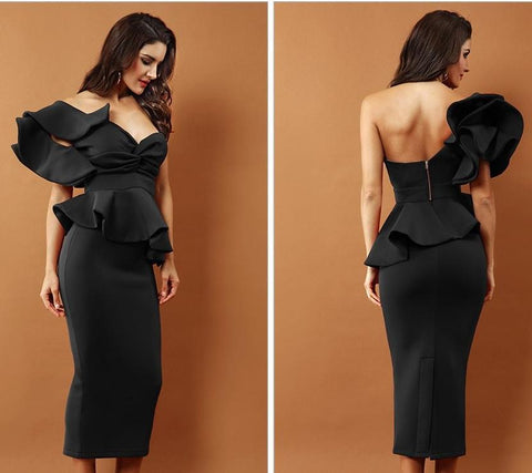 Image of One-Shoulder Ruffles Flare Design Dress dress BQ Emporium