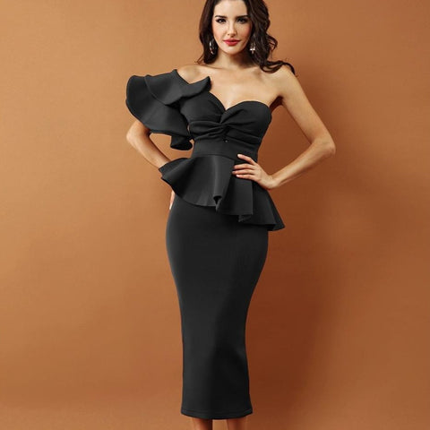 Image of One-Shoulder Ruffles Flare Design Dress dress BQ Emporium Black L