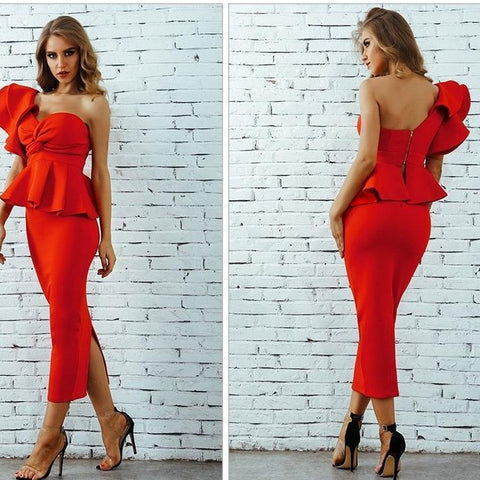 Image of One-Shoulder Ruffles Flare Design Dress dress BQ Emporium Red L