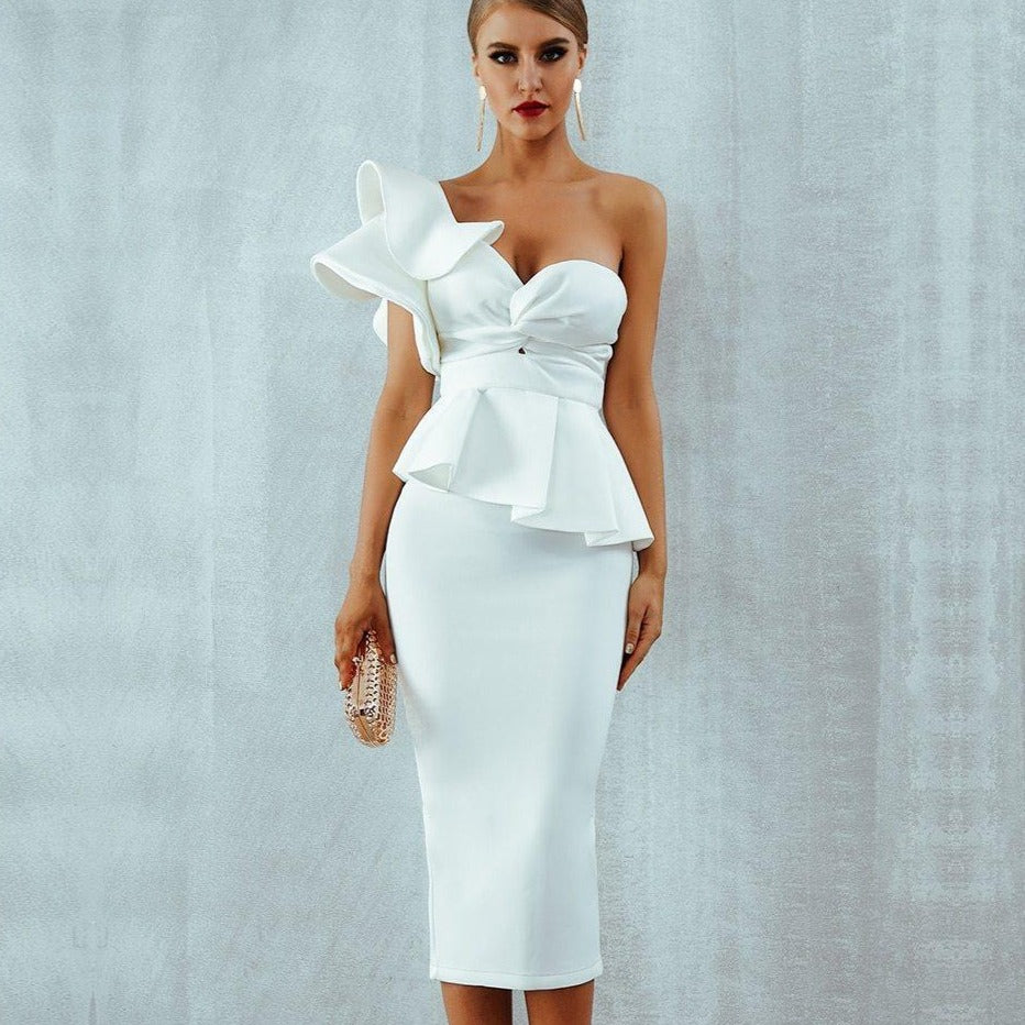 One-Shoulder Ruffles Flare Design Dress dress BQ Emporium White L