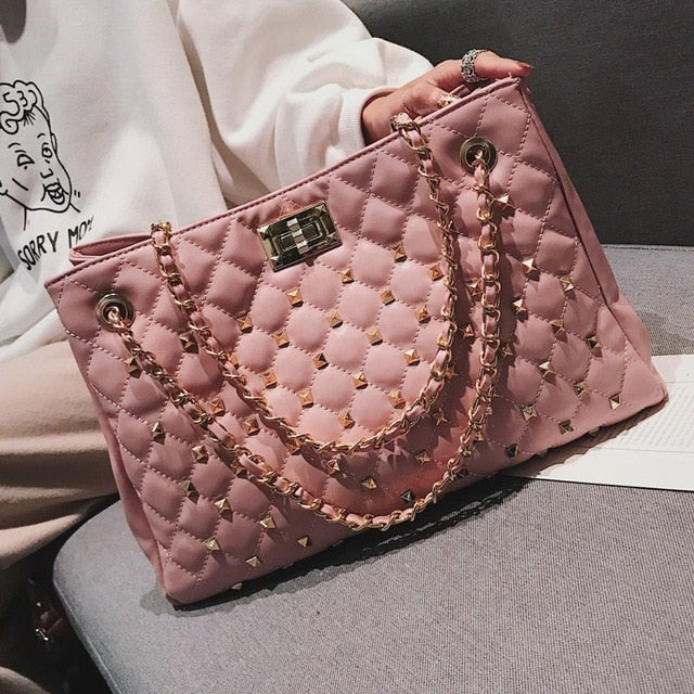 Rivet Plaid Chain Shoulder Bag