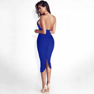 Backless Split Choker Dress