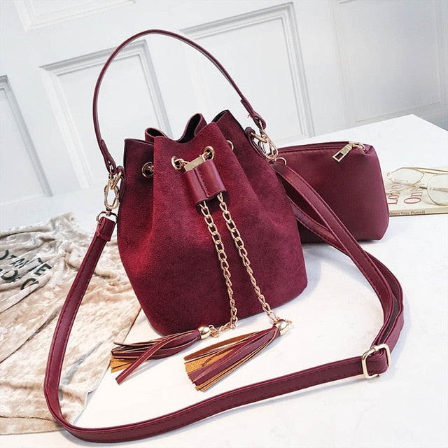 Suede Crossbody Bucket Bag