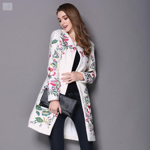 Image of Vintage-Embroidered Long Coat-Coats and Jackets-BQ Emporium