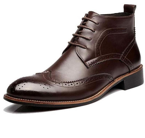 Image of Brogue-Design Bullock-Carved Leather Boots Men's Shoes BQ Emporium Brown 6