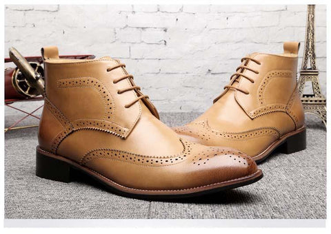 Image of Brogue-Design Bullock-Carved Leather Boots Men's Shoes BQ Emporium Yellow 6