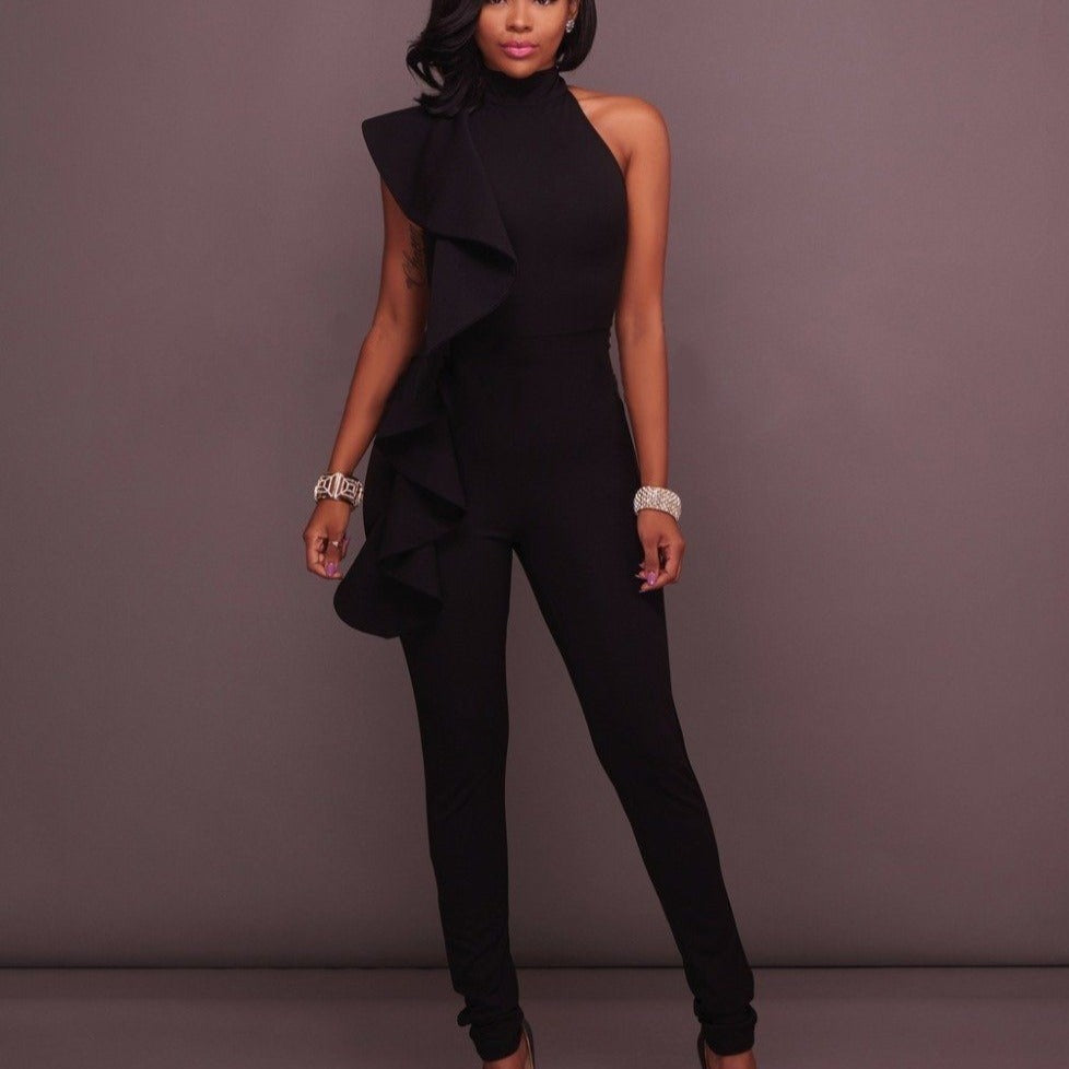 Luxe Sleeveless Ruffle Pant Suits rompers BQ Emporium black S