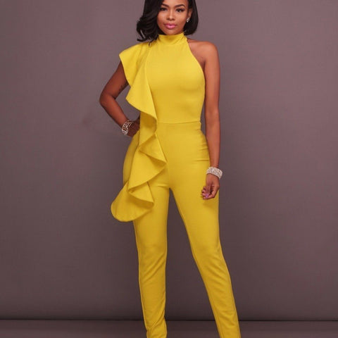 Image of Luxe Sleeveless Ruffle Pant Suits rompers BQ Emporium yellow S