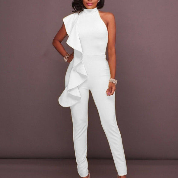 Luxe Sleeveless Ruffle Pant Suits rompers BQ Emporium white S