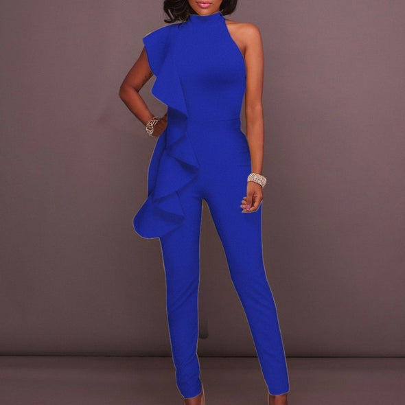 Luxe Sleeveless Ruffle Pant Suits rompers BQ Emporium blue S