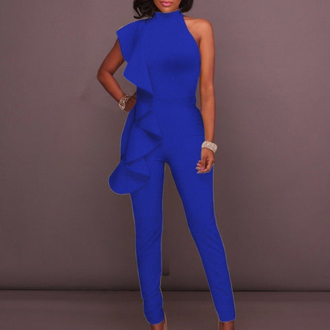 Image of Luxe Sleeveless Ruffle Pant Suits rompers BQ Emporium blue S