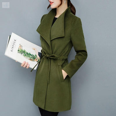 Warm and Casual Mini Coat Coats and Jackets BQ Emporium Army Green S