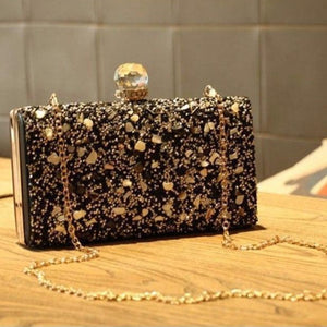 Diamond-design Evening Clutch clutch BQ Emporium black small