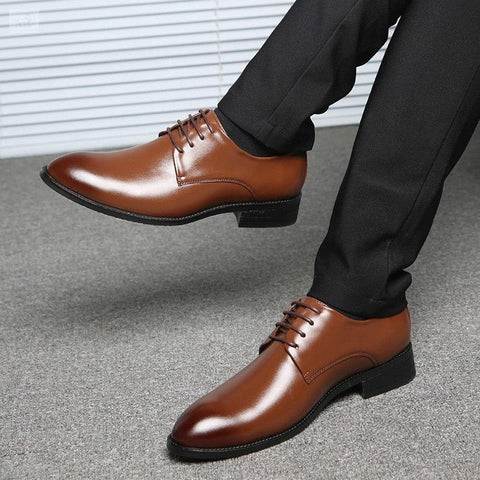 Image of Contemporary Formal Business Oxford Shoes Men's Shoes BQ Emporium Brown dress shoes 6.5