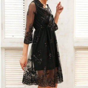 Women's Sequin Floral Dress Woman Dress BQ Emporium