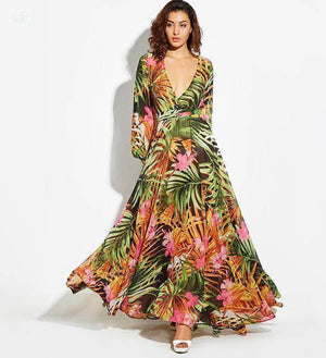 Women's Tropical Beach Maxi Dress Women's Clothing BQ Emporium Pink-Chiffon S