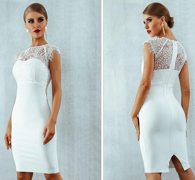 Bandage-design Lace Evening Dress dress BQ Emporium
