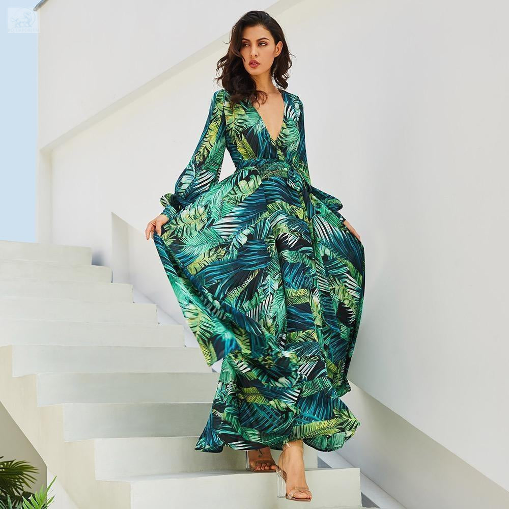 Women's Tropical Beach Maxi Dress Women's Clothing BQ Emporium green-Thick chiffon S