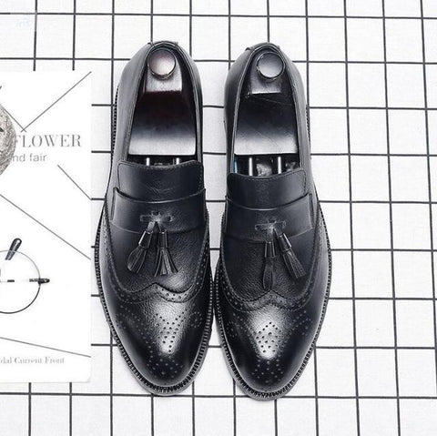 Image of Italian Brogue Tassel Shoes shoes BQ Emporium Black 37