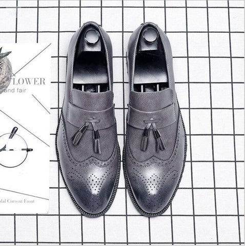 Image of Italian Brogue Tassel Shoes shoes BQ Emporium Gray 37