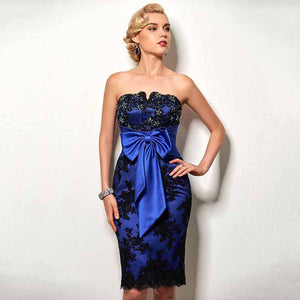 Royal Blue Strapless Cocktail Appliques Dress dress BQ Emporium Dark Royal Blue 2