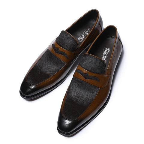Image of Luxury Brown Penny Loafer Dress Shoes Men's Shoes BQ Emporium