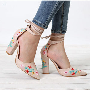 Ankle-Strap Embroidery Lace shoes