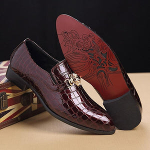 Luxury Crocodile Grain Slip-On Oxford Shoes-shoes-BQ Emporium
