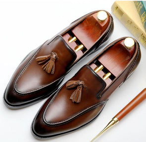 Bullock Genuine Leather Tassel Shoes Men's Shoes BQ Emporium brown 7