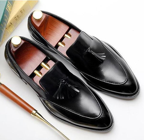 Image of Bullock Genuine Leather Tassel Shoes Men's Shoes BQ Emporium black 7