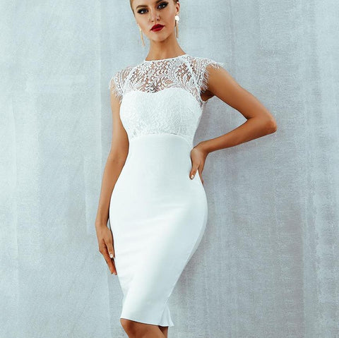 Image of Bandage-design Lace Evening Dress dress BQ Emporium White L