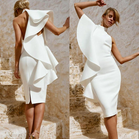 Image of White Ruffles One-Shoulder Slash Neck Dress dress BQ Emporium
