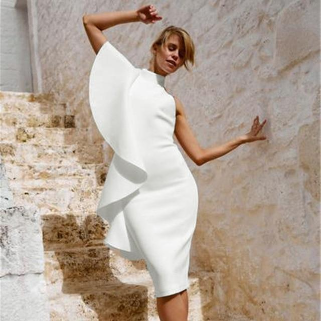 White Ruffles One-Shoulder Slash Neck Dress dress BQ Emporium WHITE S