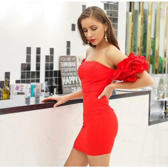 Shanice - Sexy Strapless Ruffled Mini Dress dress BQ Emporium