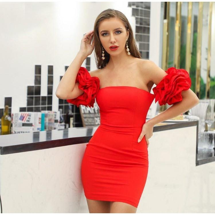 Shanice - Sexy Strapless Ruffled Mini Dress dress BQ Emporium Red L