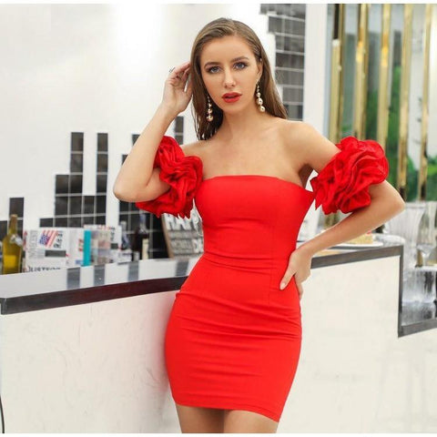Image of Shanice - Sexy Strapless Ruffled Mini Dress dress BQ Emporium Red L